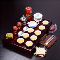 Wholesale Tea Sets Tray White - 25 pcs set Ceramic tea set blue-and-white Kungfu tea set +solid wood tea tray tea tools TL-049 wholesale