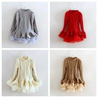 Wholesale Kids Winter Sweater Dresses - 2016 New Kids Girls Sweater Tutu Dress Crochet Ruffles Organza Dress Fall Winter Christmas Party Dress