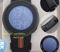 Wholesale Mens Rubber Wrist Band Watches - New Luxury Hot Sell Luxury Brand Mens Digital Quartz 114 Diamond Watch YA114208 Men's Sport Wrist Watches Black Rubber Band Watches