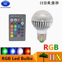 Lâmpadas led e27 E14 B22 RGB spotlight LED 9W Christmas Xmas Lighting 16 cores Alterar AC 85-265V + 24keys Controle remoto