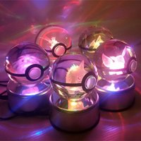 Wholesale Crystal Rotary Led - 8cm 3D.Pocket Monster ball Carved crystal ball LED Lighted Toys rotary lamp holder crystal Poke Ball HOME Decoration