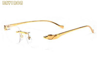 Wholesale grey spectacle frames resale online - 2017 Fashion Brand Designer Luxury Sunglasses For Women Gold Metal Frame Men Buffalo Horn Glasses Spectacle Sunglasses Big Rimless Glasses