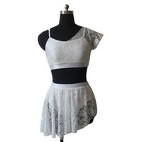 Wholesale Red Lace Camisole - Dance Dress Shiny Lycra Camisole Top Shorts with Lace Overlay Top Skirts Lyrical Dancewear Performance Dance Costumes Full Sizes 11 Colors