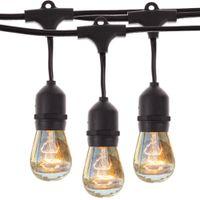 ingrosso stringa e27-48Ft (14.8M) Luce per corde vintage per esterno con 15 lampadine a incandescenza E27 da 5W nero Cavo per plug-in nero