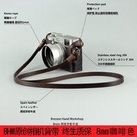 Wholesale Led Slr Flash - BHW 8 MM handmade Manual Coffee Machine Take The Lead Cowhide Ancient Tiny Straps Single Camera strap Stainless Steel DSLR SLR universal