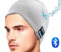 Wholesale Street Bluetooth - Free Shipping Bluetooth Hat USB Charger Elastic Knitted Caps Support Hand Free Calling Music Listening For Smart Phone Fashion Street Hats