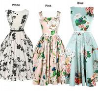frauen beiläufige abnutzung porzellan großhandel-China Günstige Vintage Dresses Slash Neck A Line Mid-Calf Sleeveless Casual Dresses Kostenloser Versand