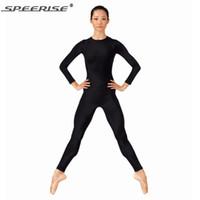 Wholesale Zebra Dance Costumes - Wholesale-Women Black Long Sleeve Unitard Bodysuit Spandex Lycra Ballet Gymnastic Full Body Tight Jumpsuit Unitard Dance Costumes Unitards