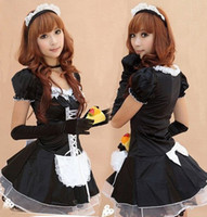 Wholesale Adult Women Costumes - 2016 Hot Sexy Adult Cosplay Costumes for Women's French Maid Costume Late Nite Maid Uniforms Lace Up Lolita Cosplay Apparel Plus Size 5pcs