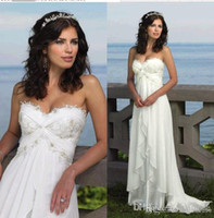 Wholesale Simple Long Dresses For Beach - 2015 White Chiffon A Line Wedding Dresses With Sweetheart Appliques Lace Pleats Beaded Long 2016 Vintage Bridal Gowns For Beach Wedding