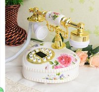 Wholesale Dragonfly Rotary Blue - Decoration Arts crafts home European palace SAE Fortion Metal Rotary Dial European Resin Antique White telephone machine seat home creative