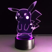 2017 Pikachu 3D Optical Illusion Lamp Night Light DC 5V USB AA Battery Wholesale Dropshipping Frete Grátis Caixa de varejo
