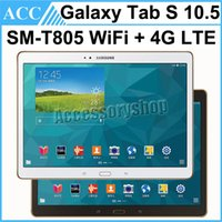 Wholesale Galaxy S Lte - Refurbished Original Samsung Galaxy Tab S SM-805 T805 10.5 inch Wifi + 4G LTE Octa Core 3GB RAM 16GB ROM 8.0MP Camera Android 4G Tablet PC