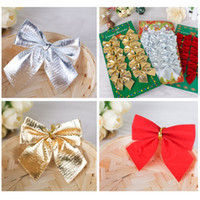 Wholesale Gilded Christmas Decorations - Butterfly Knot Jewelry Christmas Tree Decor Gilding Bowknot Flocking Small Pendant Delicate Crafts Festive Supplies Hot 1 5hq F R