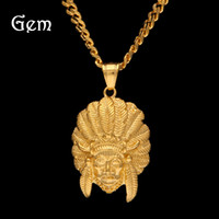 Wholesale Chief Pendant - Men's Hiphop Necklaces Gold Plated Luxury Hip Hop Jewelry Chief of the Indian Emirates Pendant Necklace Fashion Accessories