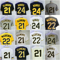 Wholesale Black 22 - 21 Roberto Clemente Jersey Mens 24 Barry Bonds 22 Andrew McCutchen Flexbase Cooperstown Pullover Stitched Yellow Black
