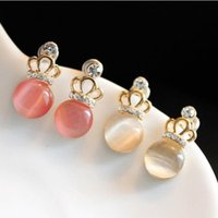 corona imperial de la moda al por mayor-Charm Ear Studs Earrings Moda Elegante Cute Imperial Crown Lovely Stud Pendientes