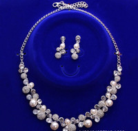 Wholesale Bridal Jewelry Sets Korean - 2018 New Korean Style Bridal Jewelry Necklace Earclip Earring Set Girl Prom Cocktail Party Evening Rhinestone Pearls In Stock Cheap 1106