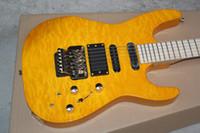 batería superior amarilla al por mayor-Edición limitada Jackson Yellow Amber Qulit Maple Top Guitarra eléctrica Floyd Rose Tremolo Bridge 9v Batería EMG Pastillas activas Gold Hardware