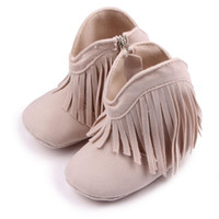 Wholesale hot pink infant shoes - Hot Baby Girls Boots Fashion Long Tassel and Zip Nubuck Leather Warm Linning Soft Anti-slip Sole Infant Walking Shoes 0-18 Months