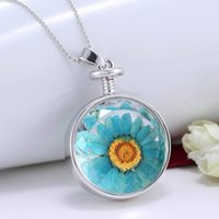 Pendant Necklaces spring gift ideas - Spring Jewelry Round Sunflower Specimens Pendant Necklace Plant Goldenrod Dried Flowers Necklace Spring Flower Gift Idea Sunshine Necklaces