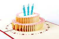 3d pop up cartões de bolo de aniversário venda por atacado-3D pop up cartão de bênção artesanal feliz aniversário bolo cartões com envelope kirigami origami papel dobrado arte fontes do partido do evento