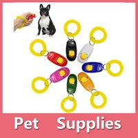 Wholesale Cat Training Aid - Hot Sales Pet Supplies Dog Cat Puppy Click Clicker Training Obedience Trainer Aid Tools Plastic Mixed Colors DHL Free 161012