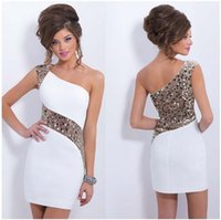 Wholesale Charmeuse Beading Prom - Sexy White Charmeuse Short Evening Dresses Sequins One Shoulder Type Version Cheap Custom Prom Party Gowns Dresses
