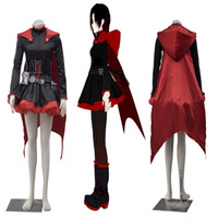 Wholesale Rwby Ruby Rose Costume - HOT Popular Anime Cartoon Characters RWBY Red Trailer Ruby Rose Cosplay Costume with Cloak For Halloween Party
