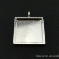 Wholesale Silver Square Cabochon Setting - Inner 20mm Hole 3mm in Silver Tone Square Bezel Cabochon Settings 20pcs Wholesale Blank Tray Setting Charm Pendants for DIY