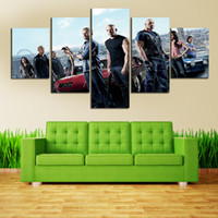 Wholesale Fast Poster Printing - Fast and Furious Movie 5 Panel Picture Painting Wall Art Room Decor Poster Canvas Free shipping Large Wall Art Canvas Painting Unframed