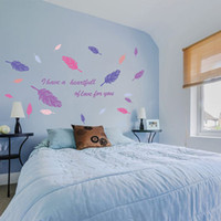 Wholesale Fly Quotes - New Design Flying Feather Living Room Wall Sticker Home Decor Adesivo de parede Home Decoration Wallpaper Wall Sticker Couples Love Quote