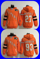 2016 New Brand-Philadelphie Flyers 27 hextall 93 voracek orange femmes Hoodies Jersey de haute qualité Hockey Jerseys Vente en gros Drop Shipping