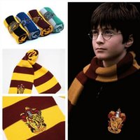 Wholesale Striped Cotton Scarves - New recommend Harry Potter college-style striped knitting scarfs winter magic school designer wool scarves Christmas gifts wholesale