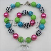 Wholesale Wholesale Zebra Stripe Beads - fashion jewelry white acrylic waterdrop pendant necklace zebra stripe beads chunky bubblegum necklace&bracelet set CB747