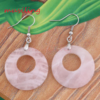 Wholesale Hollow Rose Crystal Earrings - Natural Stone Drop Earrings Round Hollow Cabochon Gem Stone Earring Rose Quartz Opal etc Accessories Fashion Jewelry For Women