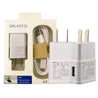 Wholesale Eu Micro - For Samsung Adaptive Wall Charger with Micro USB Cable Home Travel Adapter US EU 5V 2A 1A Kits 2 in 1 New Package For Galaxy S4 S5 S6 S7 S8