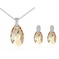 Wholesale Genuine Swarovski Jewelry - Genuine Crystal Necklace Earrings Water Drop Crystal From Swarovski Elements Women Jewelry Sets 2017 New Fashion Bijouterie 13613 5814