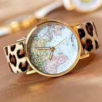 Wholesale Map Pattern Pu Leather - 2016 New Arrival Business Fashion Watch for Mens Women Round Dail PU Leather Luxury Watch Creative World Map Pattern Casual Watch