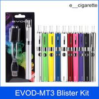elektronik tank kitleri toptan satış-Evod MT3 blister başlangıç kitleri E-sigara kiti mt3 tankları e sigara EVOD atomizer Clearomizer Evod pil elektronik sigaralar vape kalem