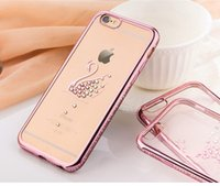 Placcatura Phone Case nuovi Swan gufo pavone Shell diamante TPU copertura posteriore ultra sottile per iPhone6 ​​bordo 6plus S6 più S7 BORDO