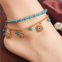 Wholesale Blue Rhinestone Ankle Bracelets - Anklets Jewelry Fashion Women Bohemia Style Turquoise Beads Blue Rhinestone Gold Plated Flowerts Tassel Ankle Bracelets (2-Piece Set) BR255
