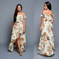 Wholesale Dresses Women Romper - Dear lovers Summer Women Off Shoulder Maxi Dress 2017 Beige Multi-color Floral Slit Romper Beach Long Dress Robe Longue free free shipping