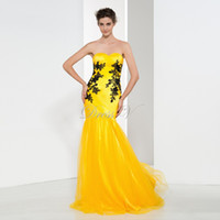 Wholesale Sexy Social Dresses - 2017 Evening Dresses Mermaid Sweetheart Black Appliques Formal Long Yellow Prom Dresses Social Dresses Evening Dress free shipping