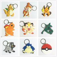 Wholesale pokemon raichu - Pvc Keychains Anime 13 Style Charmander Meowth Psyduck Jigglypuff Snorlax Raichu Poke Go Keychain Pendants Doll Toy Cute