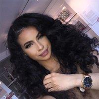 malezya saç perukları işlenmemiş toptan satış-Işlenmemiş Malezya Derin Dalga Tam Dantel Peruk Bebek Saç Ile Tutkalsız Saç Tam Dantel İnsan Saç Peruk Siyah Kadınlar için