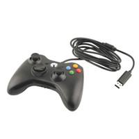 microsoft pc game controller toptan satış-USB Kablolu Joypad Gamepad Denetleyicisi Microsoft Xbox Slim 360 için Windows için PC7 Siyah Renk Joystick Oyun Denetleyicisi