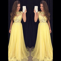 Wholesale Apple Fancy Dress - Prom Dress Long Yellow Lace 2016 Sheer High Neck Illusion Top Sexy Evening Gowns Chiffon Formal Fancy Special Occasions Dresses
