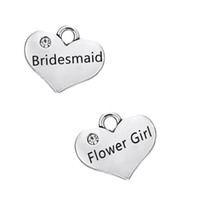Wholesale Antique Bridesmaid Bracelets - Alloy Metal Bridesmaid & Flower Girl Clear Stone Charms Pendants Antique Silver Plated Fit Dangle Bracelet Wholesale Price