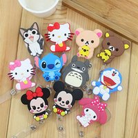 Gros-mignon 10Pcs rétractable Pull Clé Pince ID Card ID Badge Lanyard Name Tag Card Holder Recoil Reel For School Office Company